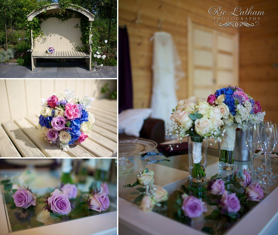 pink and blue vintage wedding bouquet
