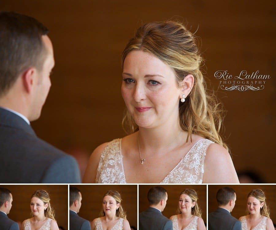 emotional first look between bride and groom