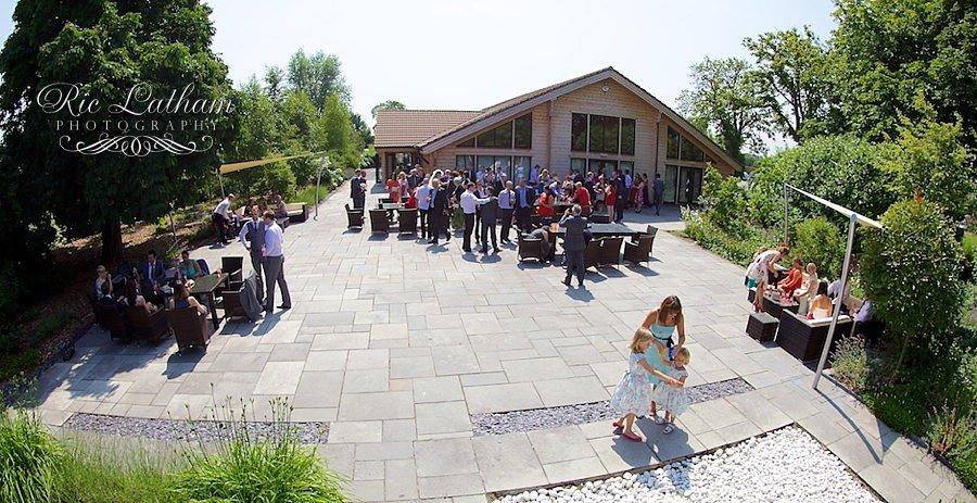 styal lodge ariel shot showing wedding guests