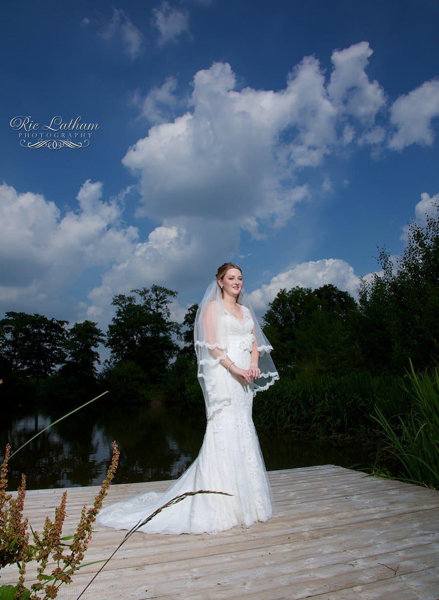 bride and a blue sky