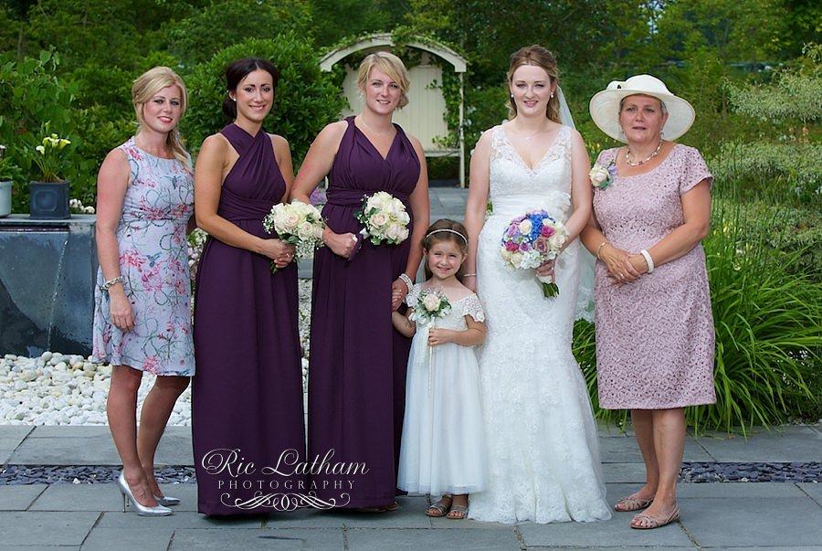 vintage flowers and purple bridesmaids dresses