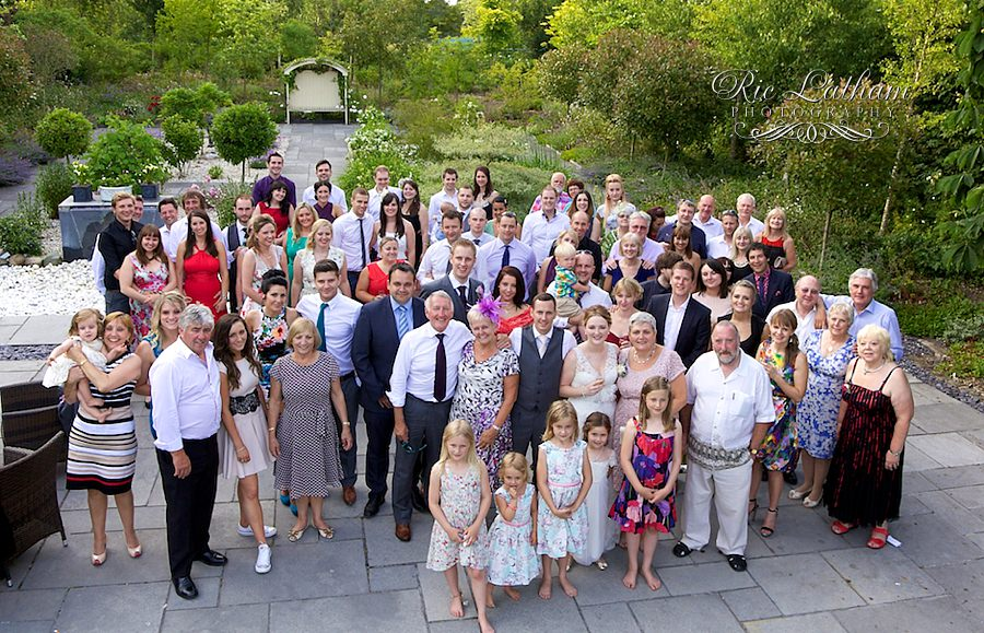 All the guests at the wedding, group shot.